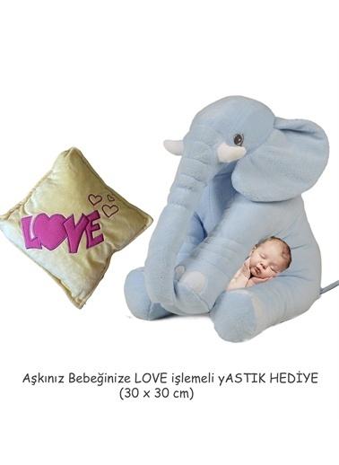 Sole YASTIK HEDİYELİ-Uyku Arkadaşım Peluş Fil - Büyük Yumuşacık(65 cm)- Sevgiliye HEDİYE Gri
